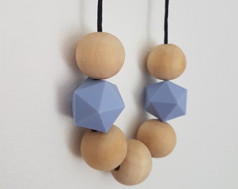 Blue silicone bead nursing necklace/teething/ mothers day