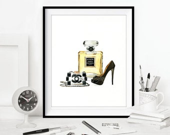 Coco Chanel art prints, Coco Chanel Watercolor fashion art print, Chanel illustration, Coco Chanel decor DIGITAL DOWNLOAD