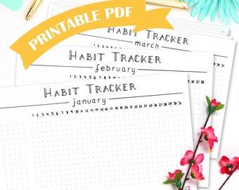 Digital Habit Tracker Bundle • Minimalism • Bullet Journal Printables • Goal Tracker • Daily Habit • Health Tracker • Minimalistic PDF