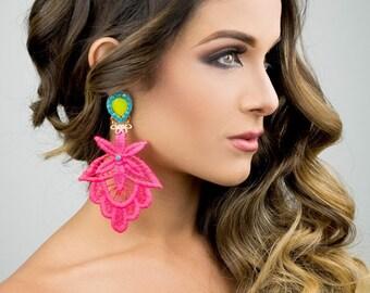 Dangle Earrings, Chandelier Earrings, Long  Earrings, Handmade Earrings, Jewelry designs,  Pink Earrings, Custom Jewelry, Anniversary Gift