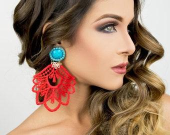 Extra Long Earring, Long Hippie Earrings, Big Earrings, Hippie Earrings, Red Lace Earrings, Dangle Earrings, Drop Earrings, Earrings Trendy