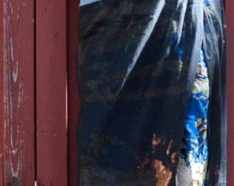 Black Over Blue Long Skirt