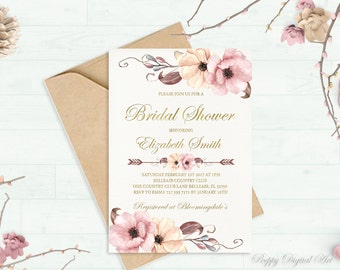 Blush Bridal Shower Invitation Printable Peach Bridal Shower Invite Spring / Summer Bridal Party Boho Bridal Shower Set Gold Foil Typography