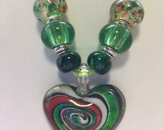 Green Lampwork Murano Glass Swirl Heart Pendant Necklace