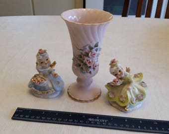 3 piece lefton china collection - pink vase 1185 - friday & saturdays child figures - angels k8281 yellow and blue - applied flowers 1950's
