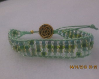 0027-Pale Green Leather Ladder Bracelet with Pastel Green Beads
