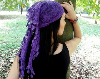 Head Scarf, Scarf Bandana, head wrap, Hair Bandana, Head bandana, Women Headband, Summer Headband, Purple Headband, Purple Scarf