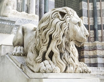 Genoa, Italy, lion statue, Leo, Italian home decor, Italy photography, fine art photography, large wall art, masculine art, earth tones
