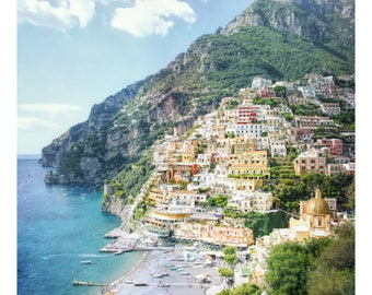 Positano Italy, Amalfi Coast, hillside homes, Italy photography, cliffs of Positano, shoreline, beach, beach umbrellas, Italian home decor