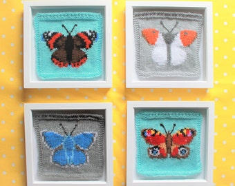 Knitting Pattern PDF Download - British Butterflies Intarsia Squares for Blanket, Bunting Wall Hanging, Wall Art