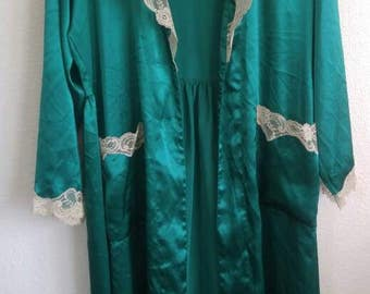 Vintage Victoria's Secret Silk Emerald Green Robe