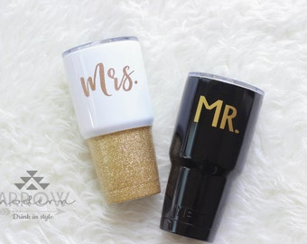 Bride and Groom Set, Powder Coated Yeti, Glitter Yeti, Rtic Tumbler, Mr and Mrs Cup, Wedding Set, Glitter Rtic Tumbler, Powder Coated Cup