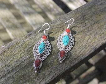 Tibetan earrings Boho earrings Hippie earrings Gypsy earrings Tribal earrings Statement earrings Tibetan jewellery Gift for her