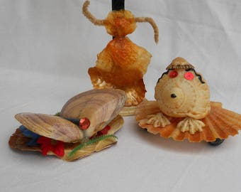 Shell Animals Trio 3 Vintage Gorgeous