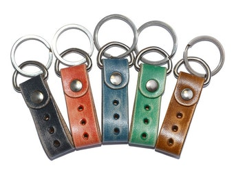 Blue Leather Keychain / Leather Key Fob, Mens Keychain, Leather Key Holder / Key Ring, Leather Key Wristlet, Key Ring Holder