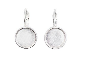 Earrings for cabochons 12 mm - silver - pair