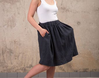 Womens Linen skirt - Washed linen A line skirt with elastic belt - Midi linen skirt - High waist linen skirt - Natural linen skirt