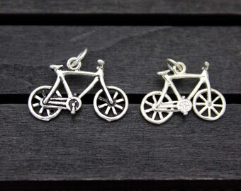 Sterling Silver Bicycle Charm Pendant,Bike Charm