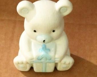 Vintage New Ceramic Teddy Bear Statue Holding Blue Gift