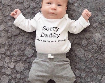 Sorry daddy, pregnancy announcement, fathers day, new baby, gift, daughter, baby shower gift, two bosses, son, parenting, new dad, new mom