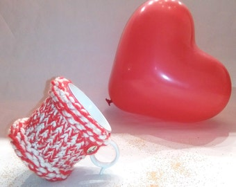 mug cozy, mug sweater, cup cozy, mug holder, coffee cozy, tazza cozies,white, red, white and red