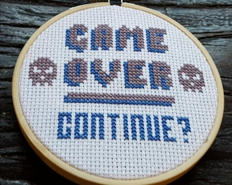 Game Over Cross Stitch Kit / 8-bit Retro Gaming