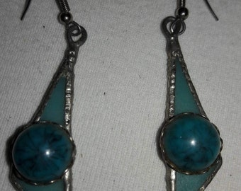 Turquoise Blue Stain Glass and Cabochon Vintage Pierced Earrings