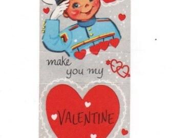 Hup 2 make you my Valentine. Soldier military vintage 1950s valentine.