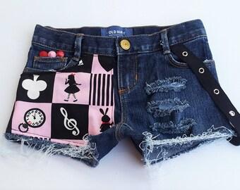 Alice In Wonderland Studded Distressed Denim Suspender Shorts