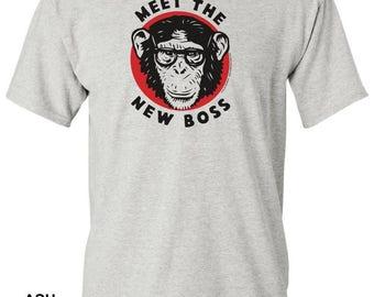 Meet The New Boss w/Chimp T-shirt - pre shrunk 100% cotton, short sleeve t-shirt