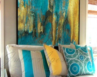 Ready to Hang, Emerald and Gold, Abstract Painting, Fine Art Print, 45x45 inch, Turquoise Wall Decor, Watercolor, Large Wall Art, Modern Art
