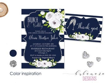 Digital Brunch and Bubbly Bridal Shower Invitation Navy White Floral Bridal Shower Invite Silver Glitter White Peonies Invitation - BS015