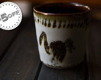 Iron Ibis Cup - ON SALE - ceramic cup, stoneware cup, inlay cup