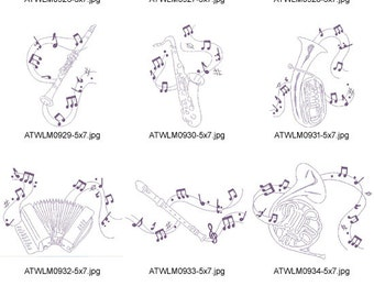 Decorative-Musical-Instruments ( 10 Machine Embroidery Designs from ATW )