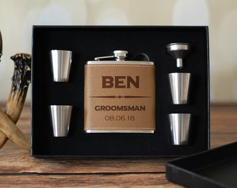 Leather Groomsmen Flask Set, Groomsman Gift Box, Personalized Gift Box, Will You Be My Groomsman, Wedding Party Favors, Leather Flasks Set