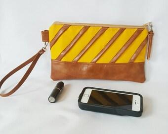 Mustard Yellow Brown Wristlet Wallet, Brown Faux Leather, Wristlet Purse, Womens Wallet, Phone Wallet, Wristlet Clutch, Birthday, Bridesmaid