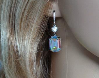 Handmade Swarovski Aurora Borealis Emerald Cut Crystal & CZ Dangle Bridal Earrings, Bridal, Wedding (Sparkle-2530)