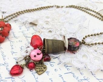 Long necklace boho style. Pendant vintage thimble, buttons, charms. Vintage thimble. Button jewelry. Thimble necklace. Upcycle frfar09
