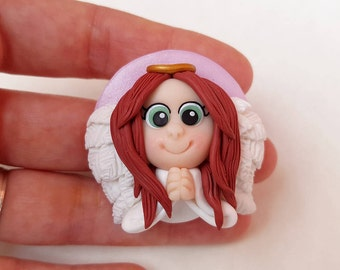 Guardian Angel in fimo with red hair and green eyes to hang or magnet-polymer clay guardian angel