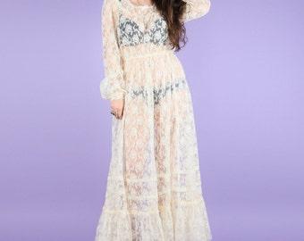 Romantic 70s Vintage Lace Maxi Dress Size Medium