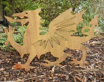 Rusty Metal Welsh Dragon / Welsh Dragon Garden Art / Welsh Gift / St Davids  Day