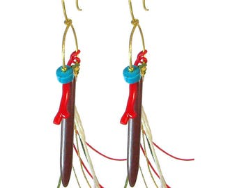 Greek Bronze Earrings with Coral and Turquoise 'Festa' from Ilios