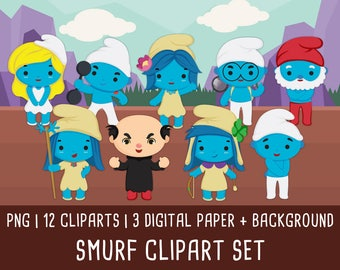 20% OFF Smurfs Clipart, the lost village, Smurfs pictures, Smurfs Birtday party, Smurfs Invitation, Instant Download PNG file 300 dpi