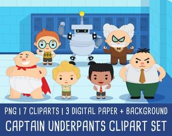 20% OFF Captain Underpants Clipart, Captain Underpants Birtday party, Captain Underpants invitation, Instant Download PNG file 300 dpi