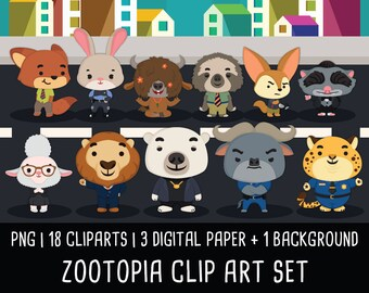 20% OFF Disney Zootopia Clipart, Animal Clip art images, animal clipart, zootopia party, zootopia birthday, Instant Download PNG - 300 dpi