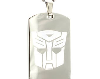 Personalized Stainless Steel Laser Etched Transformers Autobots Dog Tag Necklace