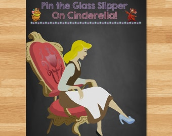 Cinderella Pin the Slipper on Cinderella Game - Chalkboard - Cinderella Pin Tail Game - Glass Slipper Game - Princess Party Game - Pin Tail