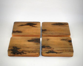 Handmade Reclaimed Wood Coasters Litchenberg Burned Lightning Strike, Rustic Home Decor, Hunting Cabin, Man Cave Coasters, Father's Day Gift