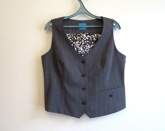 Grey Womens Vest Steampunk Vest Formal Ladies Vest Womens Waistcoat Fitted Vest Extra Large Size