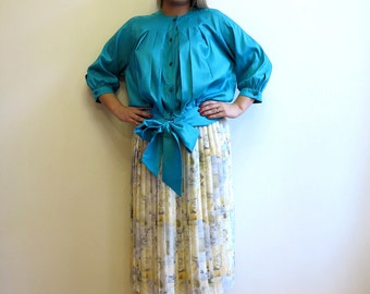 Vintage 1980s Betty Barclay Blouse Turquoise Blouse Tie Blouse 3/4 Sleeves Blouse Pleated Womens Blouse Medium Size